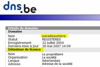 Détenteur nom de domaine sur DNS.be