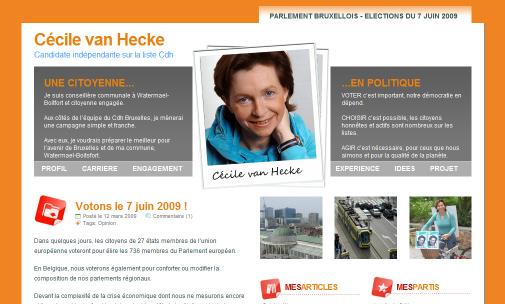 Le site de la candidate Cécile van Hecke