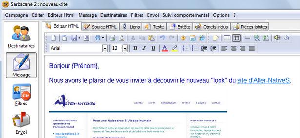 Création d'une campagne d'e-mailing avec Sarbacane