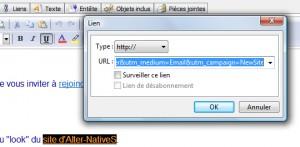 Modifier le lien hypertexte dans le message