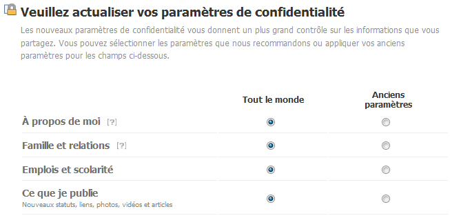 Facebook nouveaux paramètres de confidentialite