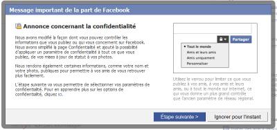 Avertissement Facebook confidentialité