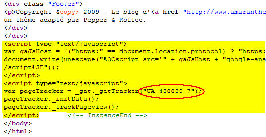 Script Google Analytics dans le code source de la page