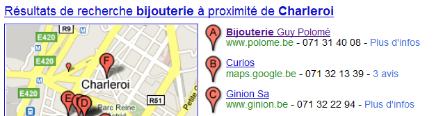 Commerce sur Google Places