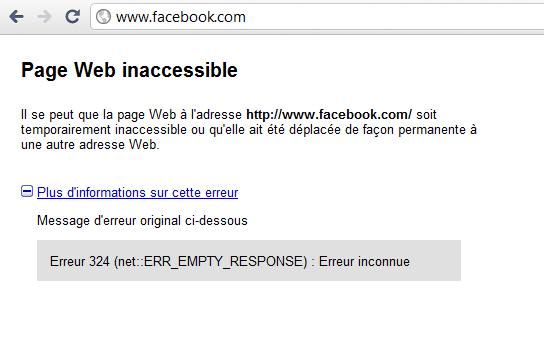 Facebook en panne le 23 septembre 2010