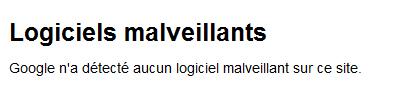 Aucun logiciel malveillant, OUF !