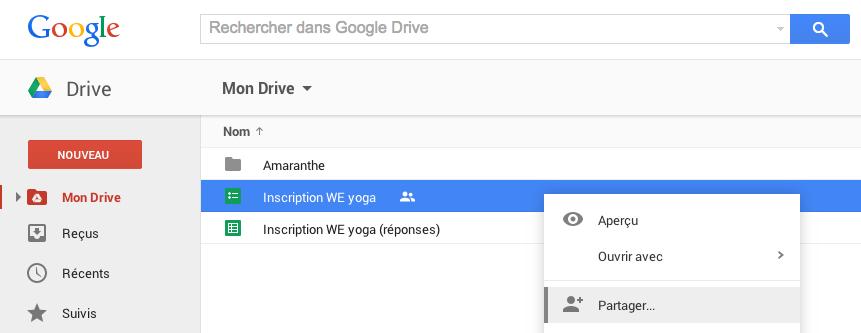 Partager un formulaire Google