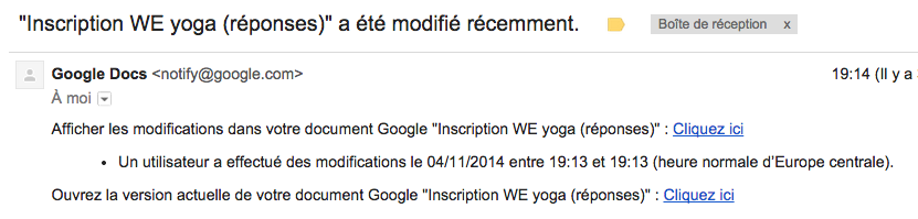 Notification formulaire Google