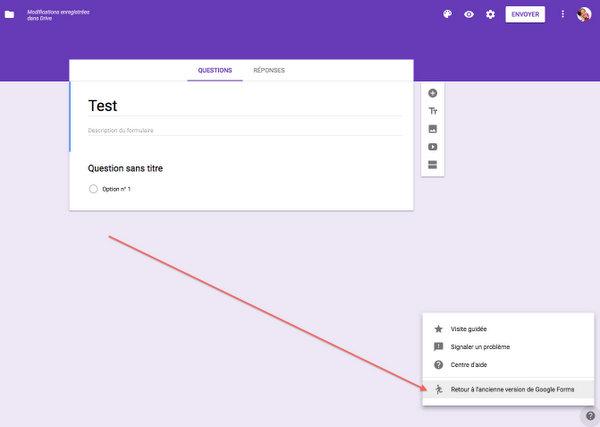 Revenir à l'ancienne interface de Google Forms
