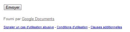 Formulaire créé avec Google Docs : mentions obligatoires