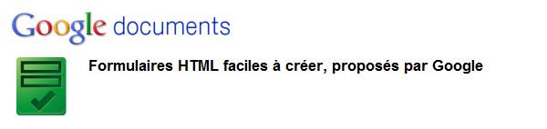 Formulaire avec Google Docs