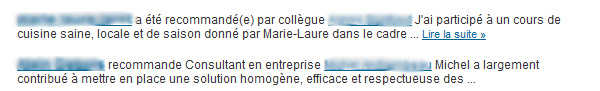 Recommandations LinkedIn dans le weekly update