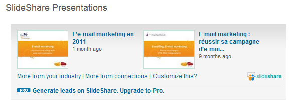 Application Slideshare pour LinkedIn