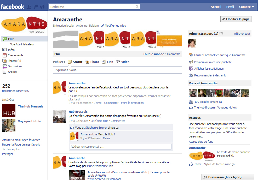 Page fan Facebook après modifications de février 2011