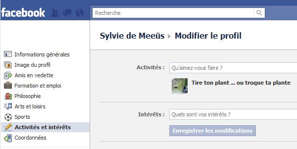 Activités et intérêts sur Facebook