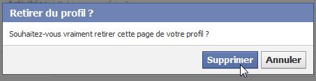 Supprimer une page du profil