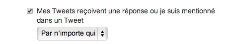 Paramètres de notification des mentions et réponses dans Twitter