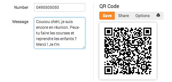 QR Code pour écrire un SMS