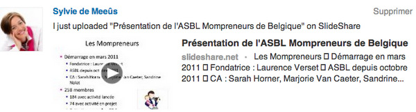 Publication d'un statut par SlideShare