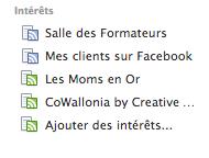 Centres d'intérêt sur Facebook