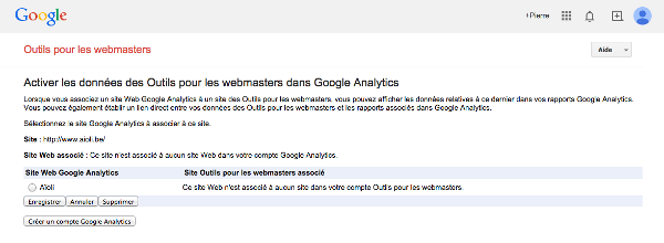Associer Google Webmaster Tools et Google Analytics