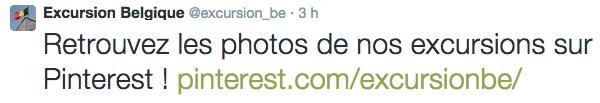 Promotion du compte Pinterest sur Twitter