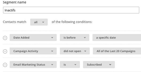 Segment MailChimp avec les inactifs