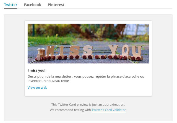 MailChimp social cards
