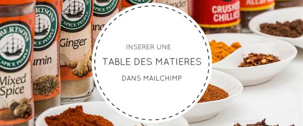 Insérer une table des matières dans MailChimp