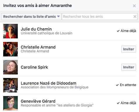 Inviter ses amis Facebook à aimer sa page
