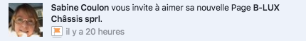 Notification Facebook invitation à aimer une page