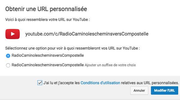 YouTube URL personnalisée