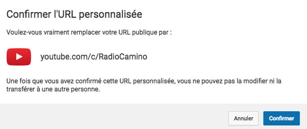 URL personnalisée chaîne YouTube