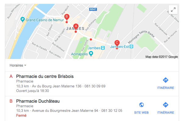 Résultats Google Local
