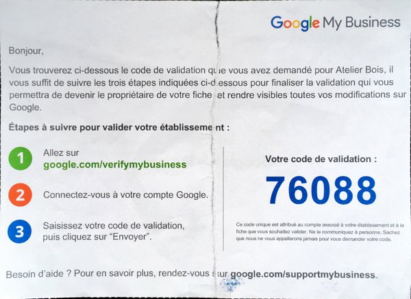 Code de validation Google MyBusiness