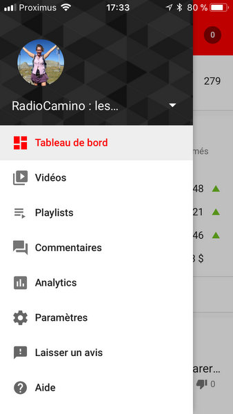 Menu de YouTube Studio