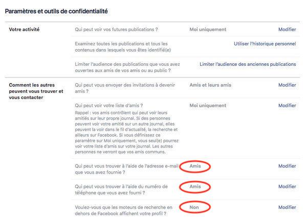 Confidentialité maximale d'un profil Facebook